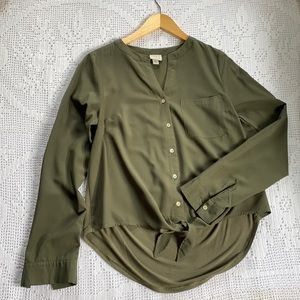 A New Day Olive Front Tie Shirt